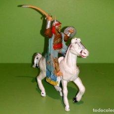 Figuras de Goma y PVC: ARABE EN CABALLO BLANCO REAMSA AÑOS 60. Lote 185671782