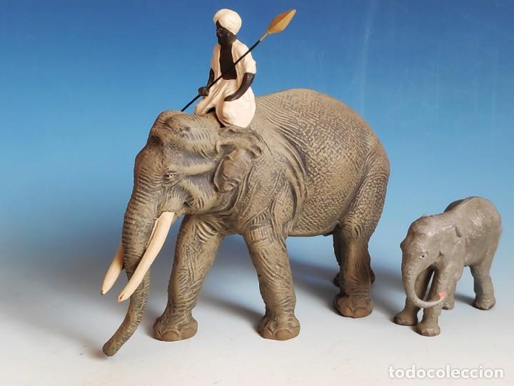 Figuras de Goma y PVC: Extraordinario conjunto de elefante con Mahut, cría y tigres Lineol 1936 compatible con arcla - Foto 2 - 184111243
