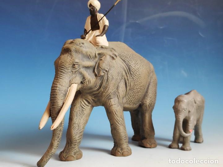 Figuras de Goma y PVC: Extraordinario conjunto de elefante con Mahut, cría y tigres Lineol 1936 compatible con arcla - Foto 4 - 184111243