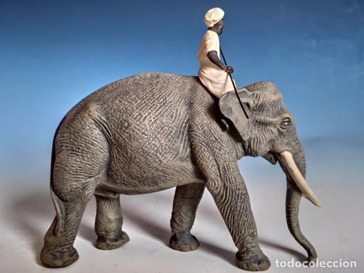 Figuras de Goma y PVC: Extraordinario conjunto de elefante con Mahut, cría y tigres Lineol 1936 compatible con arcla - Foto 5 - 184111243