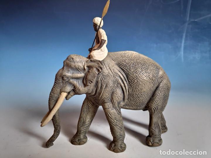 Figuras de Goma y PVC: Extraordinario conjunto de elefante con Mahut, cría y tigres Lineol 1936 compatible con arcla - Foto 6 - 184111243