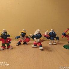 Figuras de Goma y PVC: LOTE 5 FIGURAS PITUFOS PITUFINA MARCA PEYO DESCATALOGADOS PVC ANIVERSARIO MCDONALDS AÑOS 80. Lote 101054751