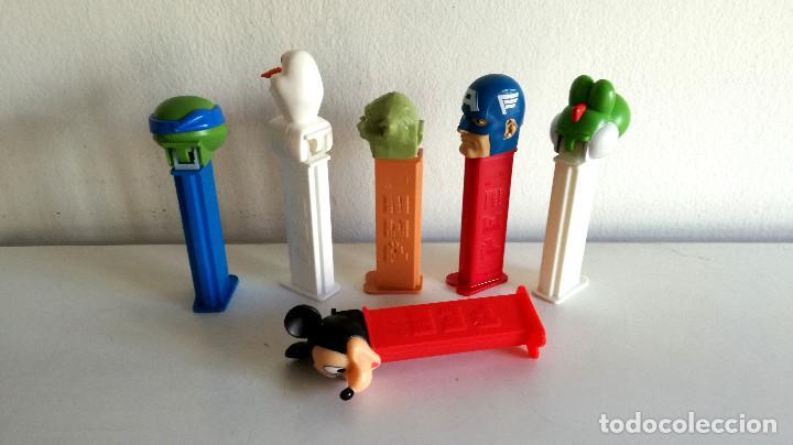 Dispensador Pez: Lote 6 dispensador caramelos PEZ Yoda Mickey Mouse Capitán América Ninja Olaf - Foto 2 - 190333542