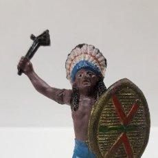 Figuras de Goma y PVC: JEFE INDIO . REALIZADO POR TEIXIDO . AÑOS 50 EN GOMA. Lote 190581107