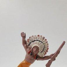 Figuras de Goma y PVC: JEFE INDIO . REALIZADO POR PECH . SERIE PEQUEÑA . AÑOS 50 EN GOMA. Lote 190701696