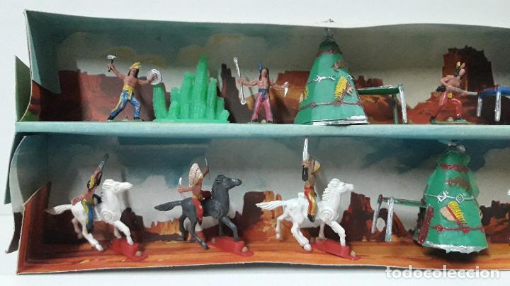 Figuras de Goma y PVC: CAJA ORIGINAL DE MINI OESTE . INDIOS - REF 105 . REALIZADA POR COMANSI . AÑOS 60 - Foto 5 - 190736555