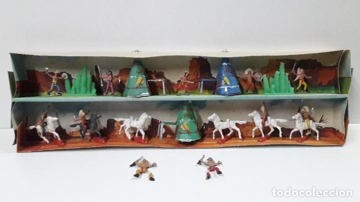 Figuras de Goma y PVC: CAJA ORIGINAL DE MINI OESTE . INDIOS - REF 105 . REALIZADA POR COMANSI . AÑOS 60 - Foto 7 - 190736555