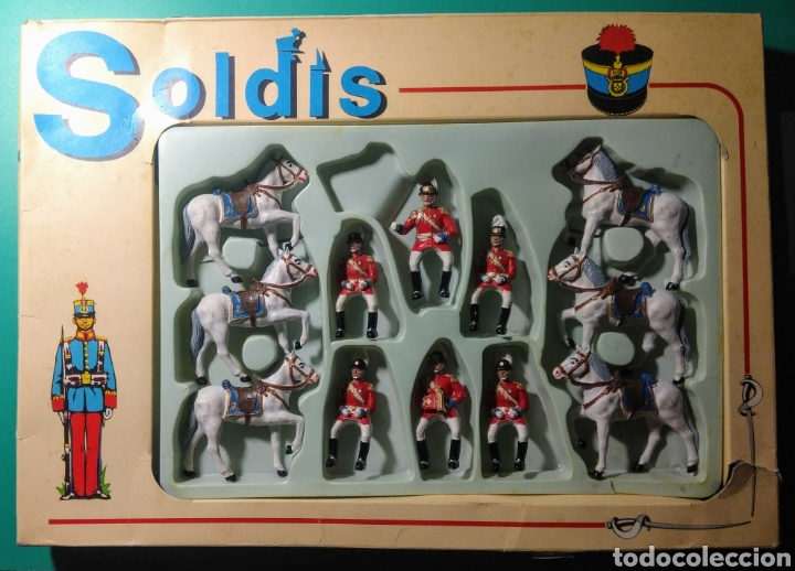 6 SOLDADOS Y 6 CABALLOS. SOLDIS DE GOMARSA. AÑOS 70. (Juguetes - Figuras de Goma y Pvc - Reamsa y Gomarsa)