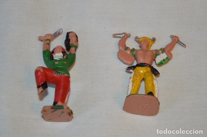 LOTE DE 2 INDIOS / HECHICEROS DE REAMSA / REF. 68 Y 70 - MADE IN SPAIN - REAMSA - VINTAGE - ¡MIRA! (Juguetes - Figuras de Goma y Pvc - Reamsa y Gomarsa)