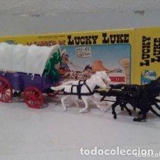 Figuras de Goma y PVC: CARRETA CON 4 CABALLOS Y TOLDO. CAJA ORIGINAL LUCKY LUKE. Lote 191342728