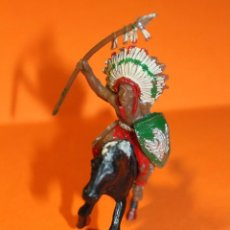 Figuras de Goma y PVC: ANTIGUA FIGURA OESTE. INDIO A CABALLO CON LANZA. FIN AÑOS 60. PINTURA ORIGINAL.VER FOTOS.. Lote 191369306