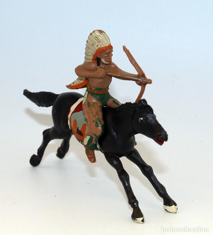 Figuras de Goma y PVC: REAMSA - INDIO COMANCHE A CABALLO - 60mm - PLASTICO - AÑOS 1953-1956 - Foto 2 - 192354672
