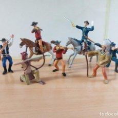 Figuras de Goma y PVC: LOTE DE 10 PIEZAS DE CABALLOS,INDIOS, COWBOYS Y SOLDADOS.MARCA CMS11. Lote 192911188
