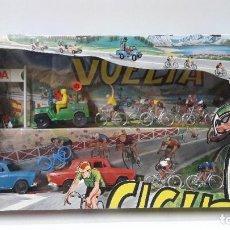 Figuras de Goma y PVC: CAJA GRANDE DE LA VUELTA CICLISTA . REALIZADA POR M. SOTORRES . AÑOS 70. Lote 193173306