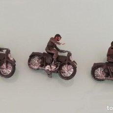 Figuras de Goma y PVC: FIGURAS DE 3 MOTOS DE TEIXIDO, MOTO DESFILE DE INFANTERIA, REALIZADAS EN PLASTICO, AÑOS 60, MUY RARA. Lote 193439198