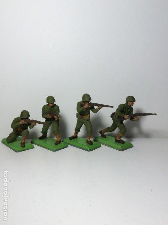 LOTE 4 FIGURAS SOLDADOS AMERICANOS 2ª GUERRA MUNDIAL BRITAINS 1971 16 (Juguetes - Figuras de Goma y Pvc - Britains)
