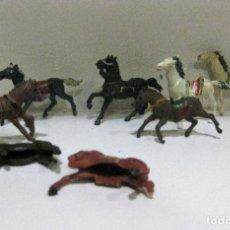 Figuras de Goma y PVC: BONITO LOTE 8 ANTIGUOS CABALLO INDIO VAQUERO REAMSA PECH COMANSI JECSAN ? VER DESCRIPCION. Lote 194087611