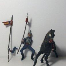 Figurines en Caoutchouc et PVC: FIGURA A CABALLO LANCERO INCOMPLETO GUARDIA DEL GENERALISIMO DESFILE EN GOMA 5. Lote 194128990