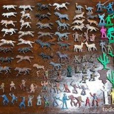 Figuras de Goma y PVC: 105 FIGURAS REAMSA, COMANSI, PECH, JJECSAN AÑOS 40/50 INDIOS, VAQUEROS, MILITARES, SOLDADOS ANIMALES. Lote 194305117