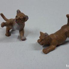 Figuras de Goma y PVC: PAREJA DE CRIAS DE LEON . POSIBLEMENTE REALIZADAS POR OLIVER . AÑOS 70. Lote 194360908