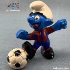 Figuras de Goma y PVC: PITUFO - FUTBOL CLUB BARCELONA - BARÇA - SIN MARCA - ANTIGUO. Lote 194376728