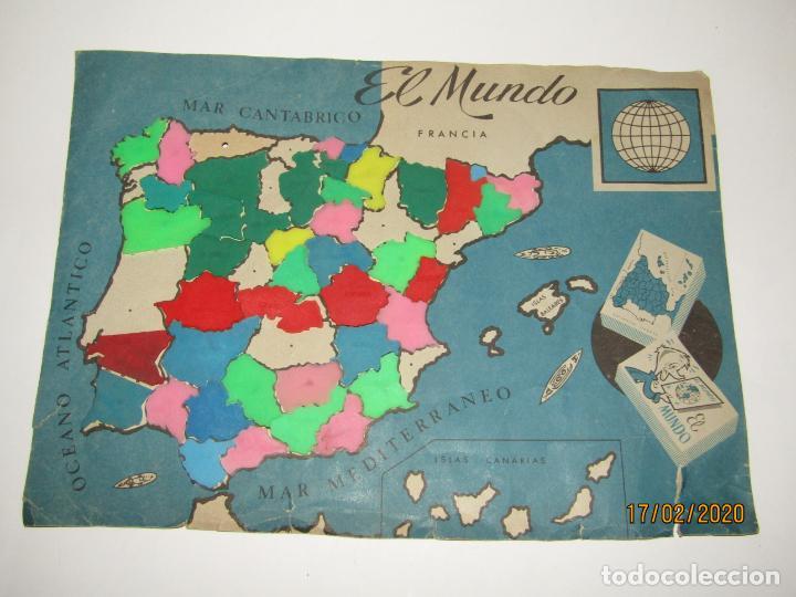 ANTIGUO MAPA PUZZLE PROVINCIAS DE ESPAÑA OBSEQUIO DE PIPAS CAMPEON - ARIAS - EL MUNDO AÑO 1960-70S. (Juguetes - Figuras de Goma y Pvc - Pipero)
