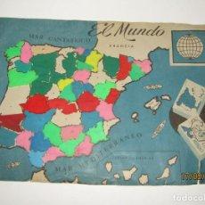 Figuras de Goma y PVC: ANTIGUO MAPA PUZZLE PROVINCIAS DE ESPAÑA OBSEQUIO DE PIPAS CAMPEON - ARIAS - EL MUNDO AÑO 1960-70S.. Lote 194388098