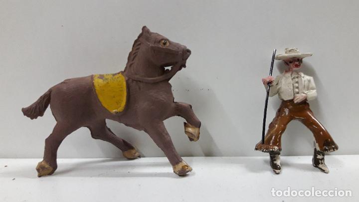 Figuras de Goma y PVC: REJONEADOR A CABALLO . REALIZADO POR PECH . SERIE PEQUEÑA - MUNDO TAURINO . AÑOS 50 EN GOMA - Foto 7 - 194460491