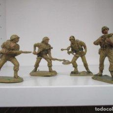 Figuras de Goma y PVC: 4 SOLDADOS MARINES AMERICANOS PECH 2ª SEGUNDA GUERRA MUNDIAL PLÁSTICO AÑOS 60. Lote 194607316
