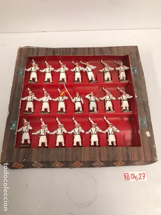 ANTIGUA CAJA REAMSA - EJÉRCITOS DE ESPAÑA - FIGURAS DE PLÁSTICO FLEXIBLES DECORADAS A MANO (Juguetes - Figuras de Goma y Pvc - Reamsa y Gomarsa)