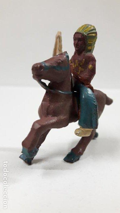Figuras de Goma y PVC: GUERRERO INDIO A CABALLO . POSIBLEMENTE REALIZADO POR CAPELL . AÑOS 50 EN GOMA . ALTURA 5 CM - Foto 3 - 194649705