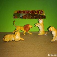 Figuras de Goma y PVC: 4 FIGURAS GOMA LEONAS -LEON CIRCO DIR DOR JECSAN AÑOS 60 EN MUY BUEN ESTADO. Lote 194729661