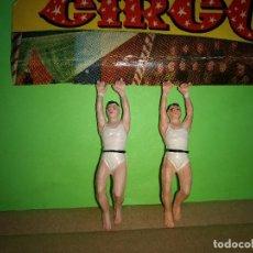 Figuras de Goma y PVC: FIGURAS EN GOMA 2 TRAPECISTAS CIRCO DIR DOR JECSAN AÑOS 60 BUEN ESTADO. Lote 194890843