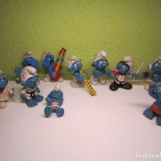 Figuras de Goma y PVC: LOTE DE 10 PITUFOS. Lote 195039936