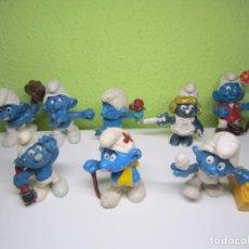 Figuras de Goma y PVC: LOTE DE 8 PITUFOS. Lote 195041343