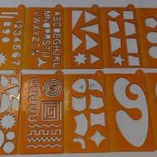 Figuras de Goma y PVC: DIBU CRECS : ANTIGUO LOTE DE 10 PLANTILLAS REGLAS REGALO PROMOCIONAL DE PATATAS CRECS AÑOS 80. Lote 195130216