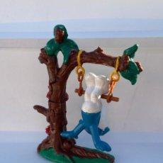 Figuras de Goma y PVC: ARBOL CON COLUMPIO Y PITUFO - PEYO - SCHLEICH - SMURF- PVC - PITUFOS. Lote 195237386