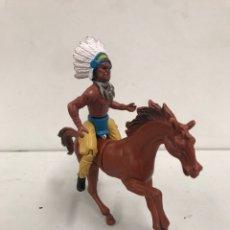 Figuras de Goma y PVC: FIGURA CON CABALLO COWBOYS AND INDIANS MOTU BOOTLEG. Lote 195241245