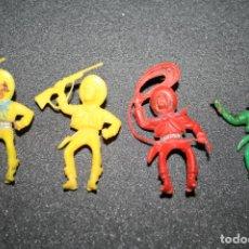 Figuras de Goma y PVC: 4 FIGURAS VAQUEROS OESTE JEAN HOFLER. W. GERMANY. Lote 195341088