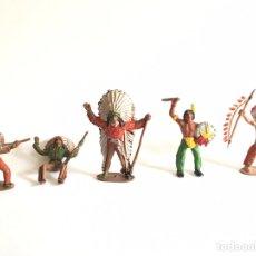 Figuras de Goma y PVC: 5 INDIOS ANTIGUOS - JUGUETE ANTIGUO- INDIO EN PLÁSTICO PINTADO DE JECSAN - TIPO COMANSI REAMSA. Lote 195568652