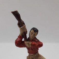 Figuras de Goma y PVC: VAQUERO - COWBOY CON RIFLE . REALIZADO POR JECSAN . SERIE PEQUEÑA . AÑOS 50 EN GOMA. Lote 196376098