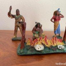 Figuras de Borracha e PVC: HAUSSER ELASTOLIN LOTE DE FIGURAS DE INDIOS. Lote 196884311