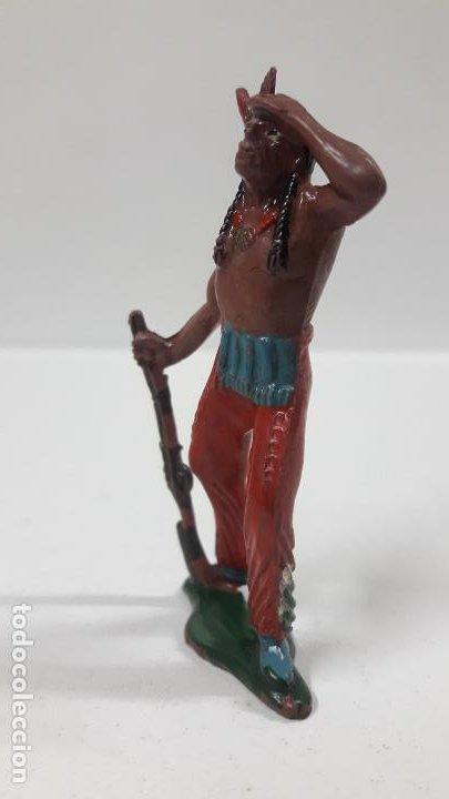 Figuras de Goma y PVC: GUERRERO INDIO OTEANDO EL HORIZONTE . REALIZADO POR TEIXIDO . AÑOS 50 EN GOMA - Foto 3 - 197030565