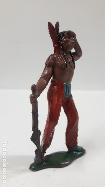 Figuras de Goma y PVC: GUERRERO INDIO OTEANDO EL HORIZONTE . REALIZADO POR TEIXIDO . AÑOS 50 EN GOMA - Foto 4 - 197030565