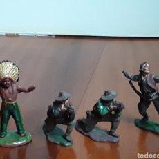 Figuras de Goma y PVC: INDIOS Y VAQUEROS DEL OESTE GOMA REAMSA AÑOS 50. Lote 197214285