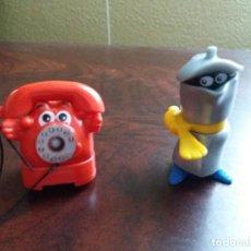 Figuras Kinder: DOS FIGURAS KINDER TELÉFONO Y CAFETERA.. Lote 197222817