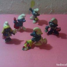 Figuras de Goma y PVC: LOTE 5 PITUFOS SCHLEICH. Lote 197231782