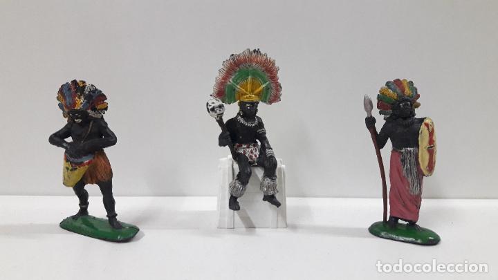 Figuras de Goma y PVC: GUERREROS Y REY - SERIE KAKUANAS . REALIZADOS POR PECH . AÑOS 50 EN GOMA - Foto 3 - 197426343