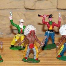 Figuras de Borracha e PVC: SOTORRES - LOTE DE 7 FIGURAS - INDIOS Y VAQUEROS / COWBOYS - PLASTICO - BIEN CONSERVADOS. Lote 197433697