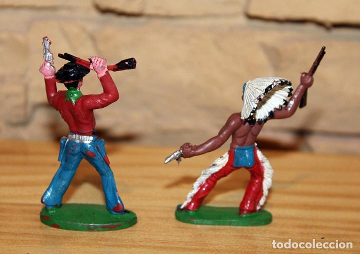Figuras de Goma y PVC: SOTORRES - LOTE DE 2 FIGURAS: INDIO Y VAQUERO - PLASTICO - BIEN CONSERVADOS2 - Foto 2 - 197433747